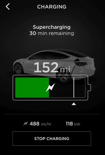 Charging Status in Tesla App
