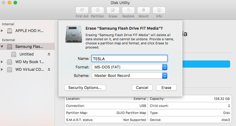Tesla Dashcam USB Drive Format on MacOS
