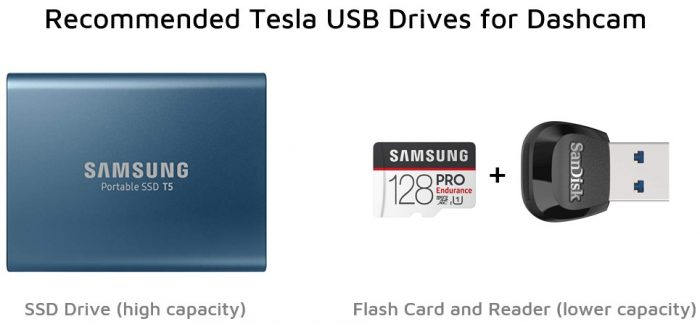 Tesla Dashcam USB Drives - SSD and Flash