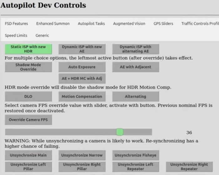 Tesla Autopilot Developer Dev Controls Menu for Full Self Driving