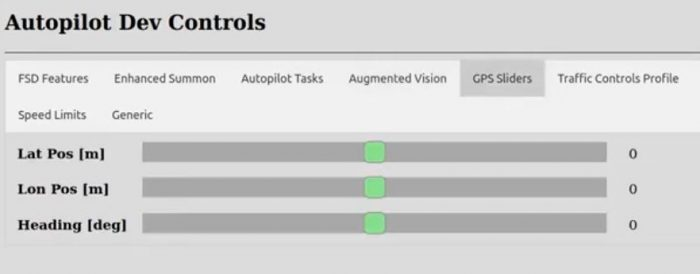 Tesla Autopilot Developer Dev Controls Menu for Full Self Driving